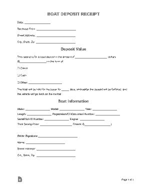 Free Download PDF Books, Boat Deposit Receipt Form Template