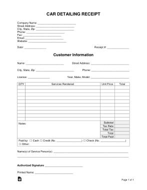 Free Download PDF Books, Car Detailing Receipt Form Template