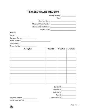 Itemized Sales Receipt Form Template