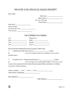 Private Car Vehicle Sales Receipt Form Template