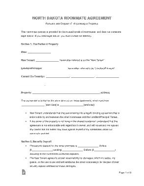 Free Download PDF Books, North Dakota Room Rental Agreement Form Template
