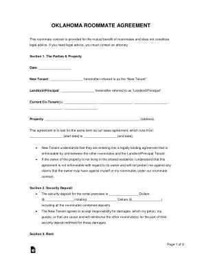 Free Download PDF Books, Oklahoma Room Rental Agreement Form Template