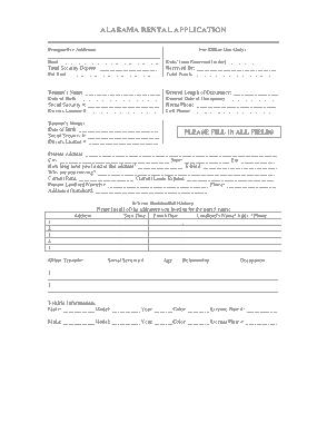 Free Download PDF Books, Alabama Rental Application Form Template