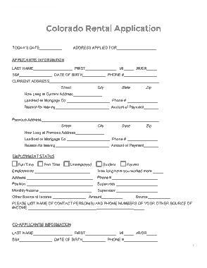 Free Download PDF Books, Colorado Rental Application Form Template