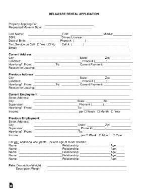 Free Download PDF Books, Delaware Rental Application Form Template