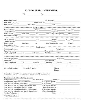 Free Download PDF Books, Florida Rental Application Form Template