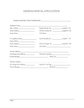 Free Download PDF Books, Georgia Rental Application Form Template