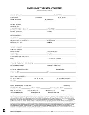 Free Download PDF Books, Massachuetts Rental Application Form Template