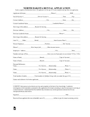 North Dakota Rental Application Form Template