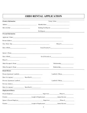 Free Download PDF Books, Ohio Rental Application Form Template