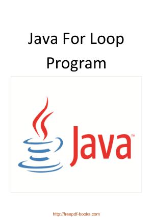 Java For Loop Program, Java Programming Book