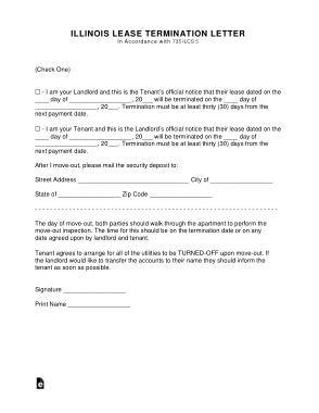 Free Download PDF Books, Illinois Lease Termination Letter Template