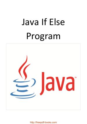 Java If Else Program, java Tutorial
