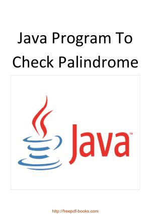 Java Program To Check Palindrome, Java Programming Tutorial Book