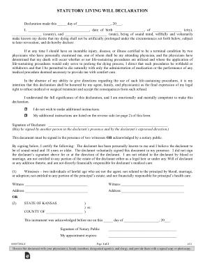 Free Download PDF Books, Kansas Statutory Living Will Declaration Form Template