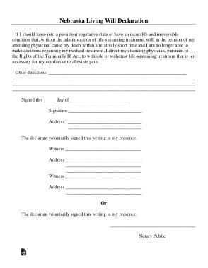 Free Download PDF Books, Nebraska Living Will Declaration Form Template
