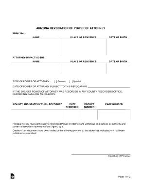 Az Revocation Power Of Attorney Form Template