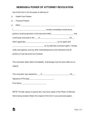 Free Download PDF Books, Nebraska Power Of Attorney Revocation Form Template