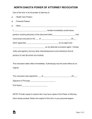 Free Download PDF Books, North Dakota Power Of Attorney Revocation Form Template