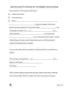 Free Download PDF Books, South Dakota Power Of Attorney Revocation Form Template