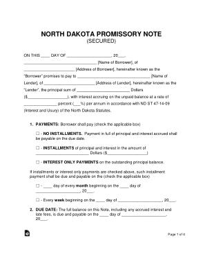 Free Download PDF Books, North Dakota Secured Promissory Note Form Template
