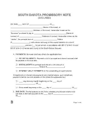 Free Download PDF Books, South Dakota Secured Promissory Note Form Template