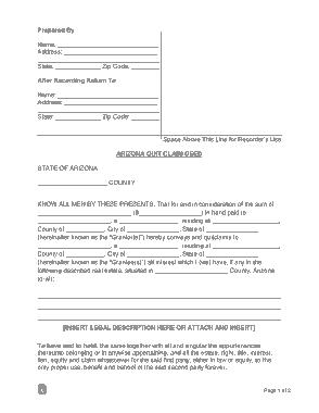 Free Download PDF Books, Arizona Quit Claim Deed Form Template