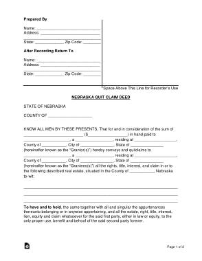Free Download PDF Books, Nebraska Quit Claim Deed Form Template
