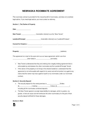 Free Download PDF Books, Nebraska Roommate Agreement Form Template