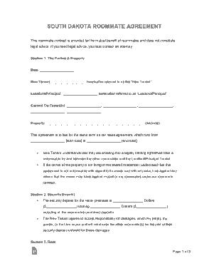 Free Download PDF Books, South Dakota Roommate Agreement Form Template