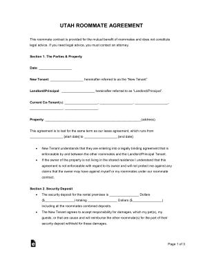 Free Download PDF Books, Utah Roommate Agreement Form Template