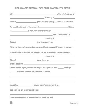 Free Download PDF Books, Delaware Special Warranty Deed Form Template