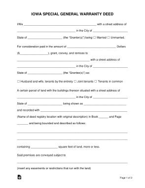 Free Download PDF Books, Iowa Special Warranty Deed Form Template