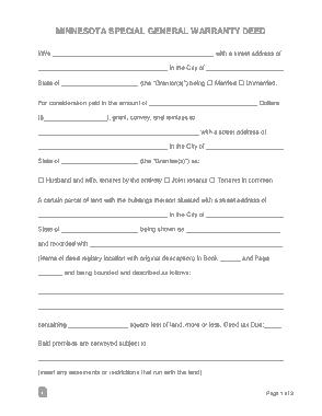 Free Download PDF Books, Minnesota Special Warranty Deed Form Template