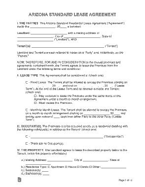 Free Download PDF Books, Arizona Standard Lease Agreement Form Template
