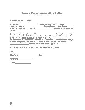 Free Download PDF Books, Nurse Recommendation Letter Template