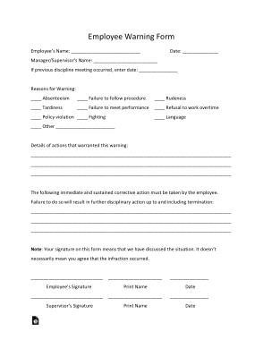 Free Download PDF Books, Employee Warning Form Template