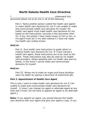 Free Download PDF Books, North Dakota Health Care Directive Form Template