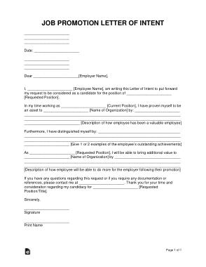 Free Download PDF Books, Job Promotion Letter of Intent Sample Letter Template