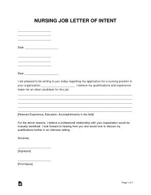 Free Download PDF Books, Nursing Job Letter of Intent Sample Letter Template