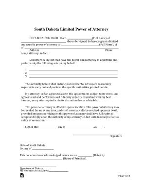Free Download PDF Books, Southdakota Limited Power Of Attorney Form Template