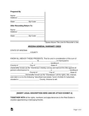 Free Download PDF Books, Arizona General Warranty Deed Form Template