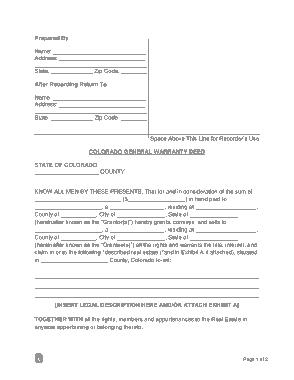 Free Download PDF Books, Colorado General Warranty Deed Form Template