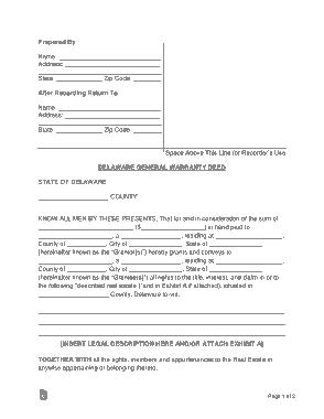 Free Download PDF Books, Delaware General Warranty Deed Form Template