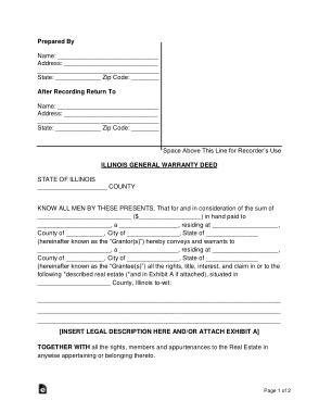 Free Download PDF Books, Illinois General Warranty Deed Form Template