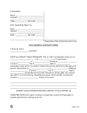 Free Download PDF Books, Iowa General Warranty Deed Form Template