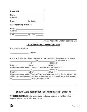 Free Download PDF Books, Louisiana General Warranty Deed Form Template