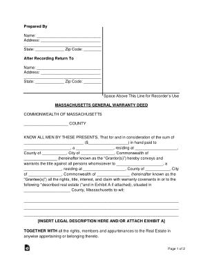 Free Download PDF Books, Massachusetts General Warranty Deed Form Template