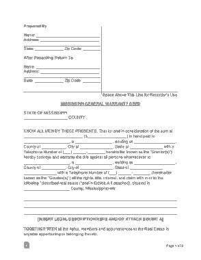 Free Download PDF Books, Mississippi General Warranty Deed Form Template