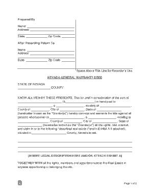 Free Download PDF Books, Nevada General Warranty Deed Form Template